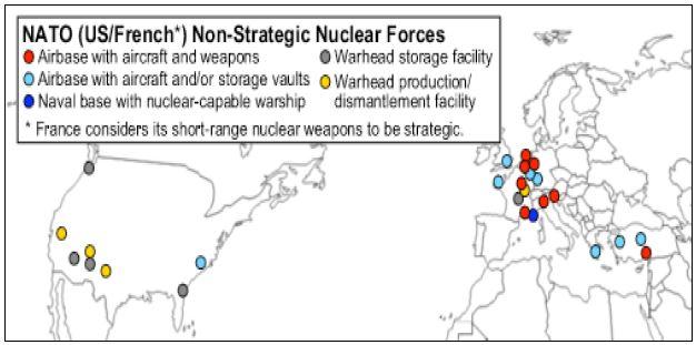 그림 1_미국의 전술핵탄두 및 관련 시설 배치 현황(2012년 5월 현재)