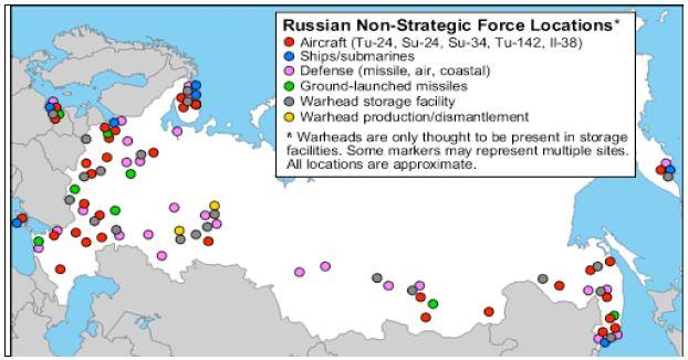 그림 2_러시아의 전술핵탄두 및 관련 시설 배치 현황(2012년 5월 현재)