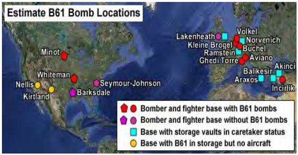그림 3_B61 전술전략핵탄두 배치 현황 (2014년 현재)