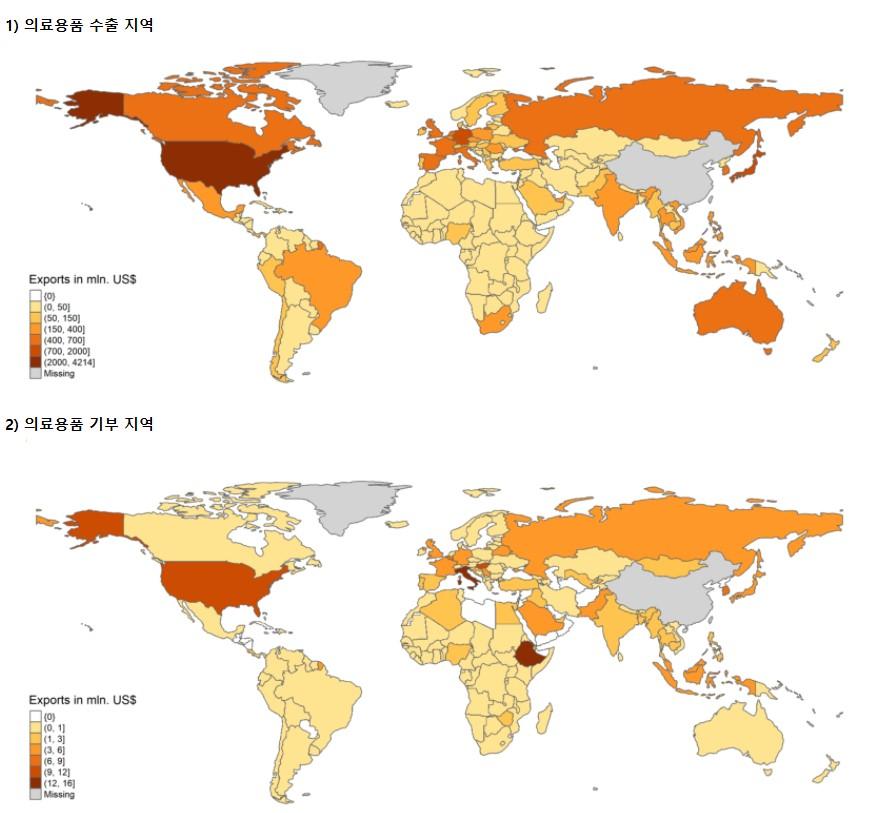 그림1. 2020년 3-4월 중국의 의료용품 지원 현황
