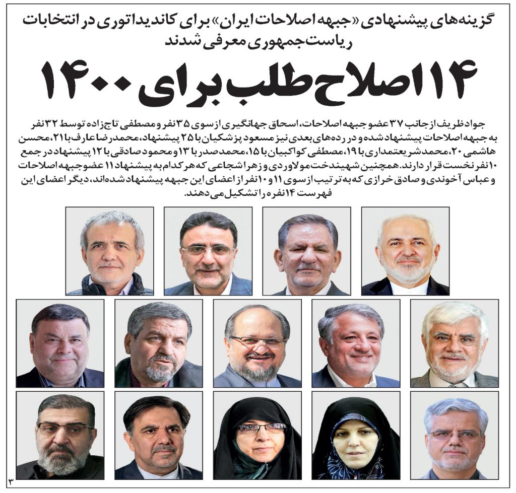 그림 2. 개혁파 모임 이란개혁전선이 뽑은 대선 출마 선호 14명